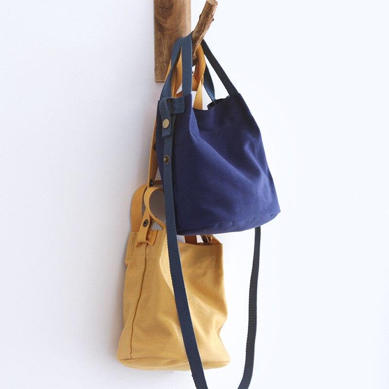 Canvas Bucket Handbag Female Casual Fabric Soft Shoulder Bag Teenager Leisure Daily Candy Color Crossbody Bag Women Simple Bag