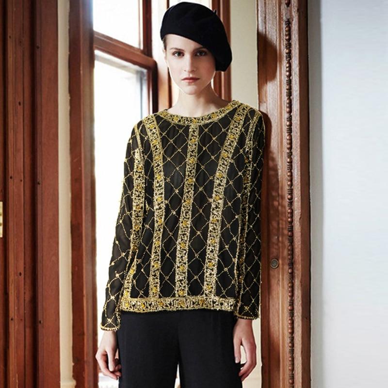 VERDEJULIAY Sexy évider maille T-shirt femme perles Rivets Top 2020 nouvelle mode automne hauts noirs pour les femmes résille chemise