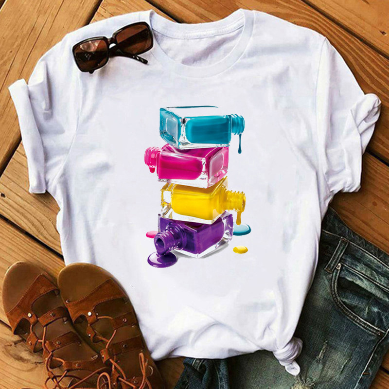 Maycaur Summer Streetwear Vogue Women T Shirts Fashion Nail Polish Printed Tshirt Harajuku Kawaii White Female T-shirt Femme Tee