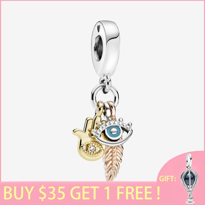 2020 New Arrival 925 Sterling Silver Beads Hamsa All-seeing Eye & Feather Charm fit Original Pan's Bracelets Women DIY Jewelry