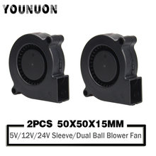2 Pieces 5015 50mm DC 24V 12V 5V Ball/Sleeve Brushless Cooling Turbine Blower Fan 50mm x 15mm Blower Cooler Fan for 3D Printer
