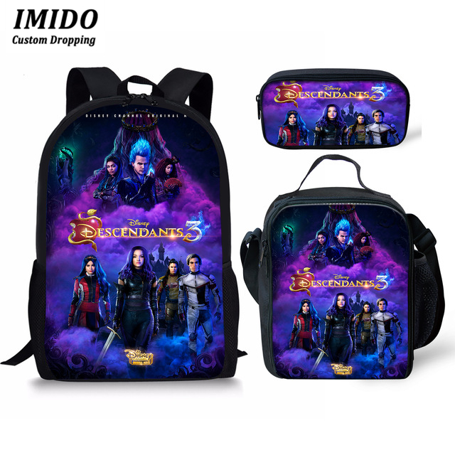 IMIDO Descendants Backpack For Teenage Boys Girls Student School Bag Teenage Students Custom Bag 3 Pcs/Set Travel Backpack 2019