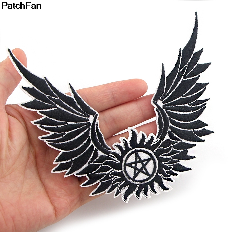 20pcs Lot A2577 Symbol Of Supernatural Anti Possession Wing Stickers Embroidery Motif Applique Garment Kids Diy Clothes Badge Patches Aliexpress