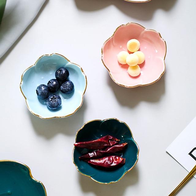 Ceramic Flower Dishes Seasoning Dipping Bowl Sakura Ceramic Dish Cherry Blossom Trinket Plate Sauce Dish Flower Dish for Kitchen 2