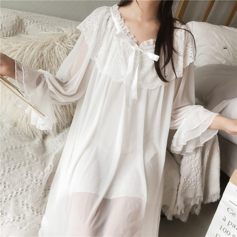 Women's Lolita Dress Princess Nightdress Vintage Lace Chiffon   Nightgowns   White   Nightgown   Princess Sleepwear