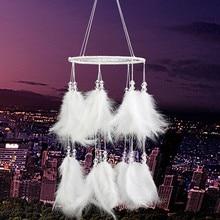 цена на 1pc New white fluffy lantern dream catcher feather jewelry pendant wedding jewelry hanging wall decoration