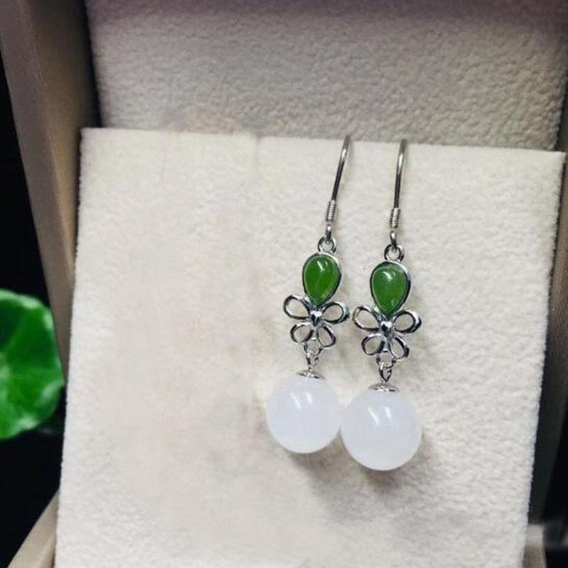 10MM Natural Jade //Gemstone Round Beads 925 Sterling Silver Hook Earrings