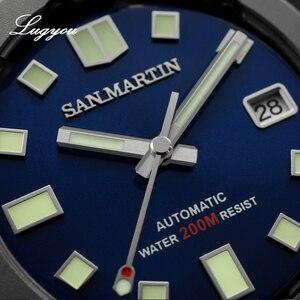Image 3 - Lugyou סן מרטין צב Diver גברים שעון נירוסטה מכאני קרמיקה לוח מסתובב 20Bar ספיר קריסטל רצועת עור