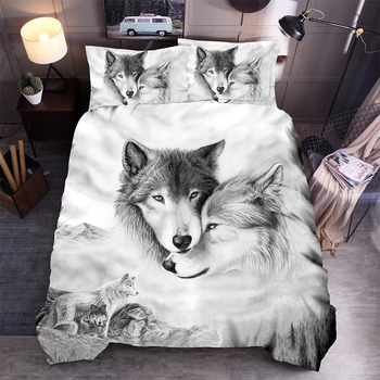 3D Wolf Bedding Set Animal Cat Bubble Duvet Cover Set for Kids Pillowcase Bed Linen Single Queen Double King Size Cute Bed фото