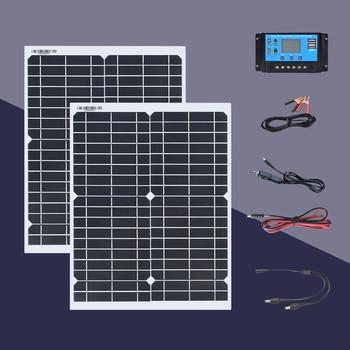 Boguang solar panel 20W 18V kit 100W / h on the first day 40w panel solar kit with Controller 200w / h for 5v 12v 24v battery solar power system 200w 24v photovo panel 12v 100w 2 pcs solar charge controller 12v 24v 10a battery motorhome camp caravan rv