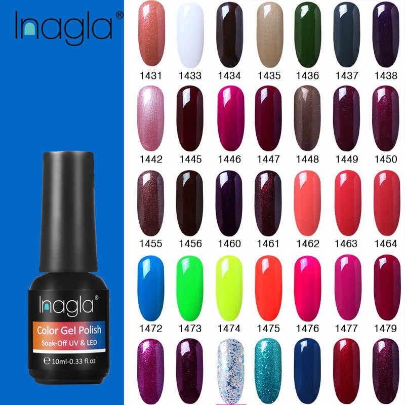Inagla Nail Art 10ml French White Paint Gel Crystal Lacquer Nail Art Soak off Classic Pure Color UV LED Gel Nail Polish