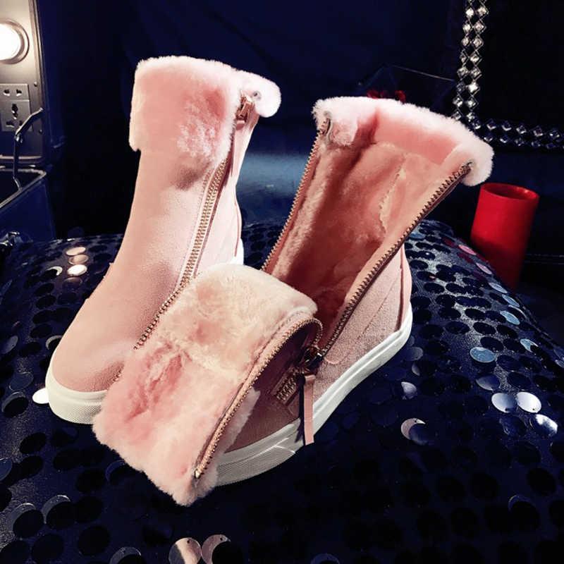 SWYIVY Hakiki Deri Zip Kama Ayakkabı Kadın 2019 Moda Kış Bayan Botları Ayak Bileği Platformu Kadın Kar Botları kadın ayakkabısı Yün