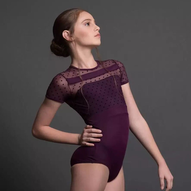 Ballet Leotard Women Short Sleeve Lace Mesh Gymnastics Ballet Dance Leotards Bodysuit Professional Competition Dance Costumes