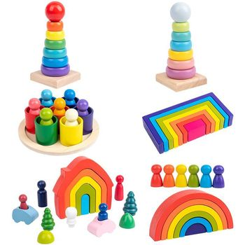 Baby Toys Rainbow Building Blocks Wooden Toys For Kids Creative Rainbow Stacker Montessori Educational Toy Children's Gifts montessori wooden rainbow blocks baby toys wooden toys for kids creative rainbow building blocks montessori educational toy