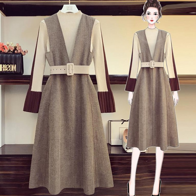 Autumn And Winter Women's Sweater + Sleeveless Dress With Belt Two-piece Suit