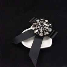 цена на Shiny Black Crystal Bowknot Brooch Lady Scarf Pin Brooch Pin Clothes Hat Handbag All Match Decoration Collar Brooch Pin  Jewelry
