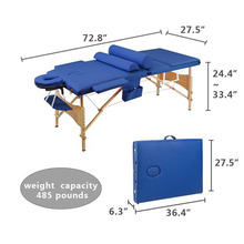 3 Sections Folding Professional Portable Beauty Spa Bed Massage Table Set Lightweight Foldable with Bag Salon Furniture
