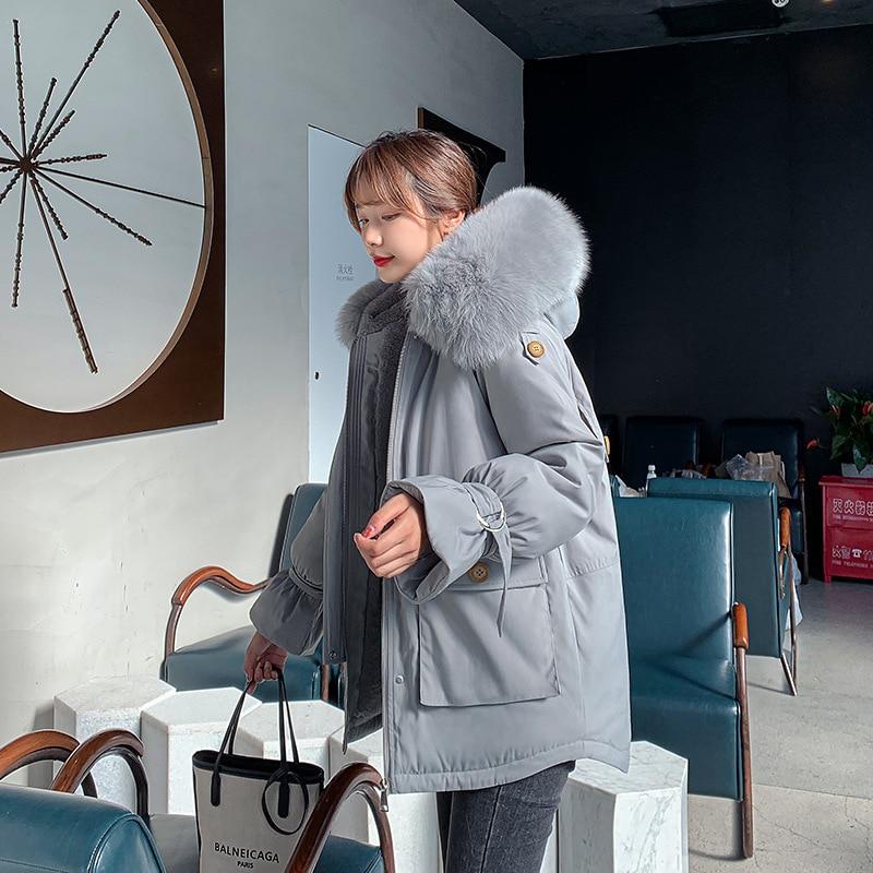 2020 Winter Liner Warm Outerwear Women Plus Size Slim Long Jacket Female Winter Big Fur Hooded Parka Mujer Coats M369