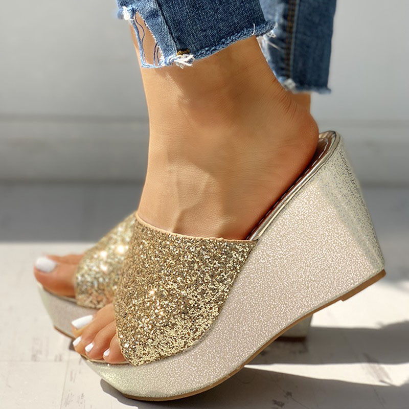 Women Bling High Heel Pumps Ladies Mules Wedding Shoes Wedges Slides Party Sandals Platform Slipper Peep Toe Zapatos De Mujer