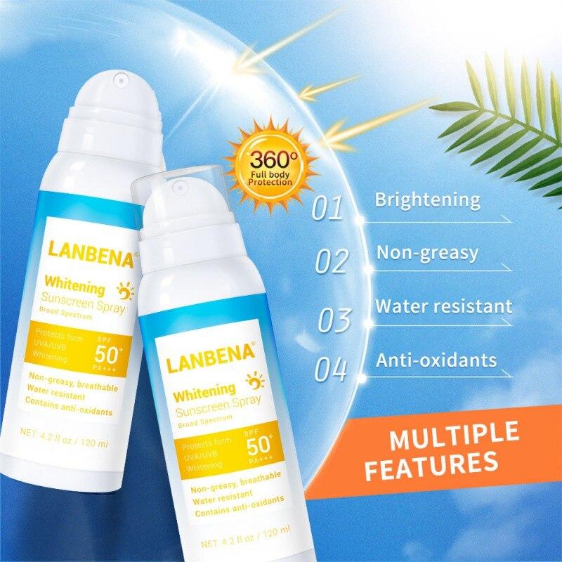 LANBENA Whitening Sunscreen Spray  Sunblock Lasting Protective Cream SPF 50pa+++ Anti-uv Oil-control Facial Body Sunscreen Hot
