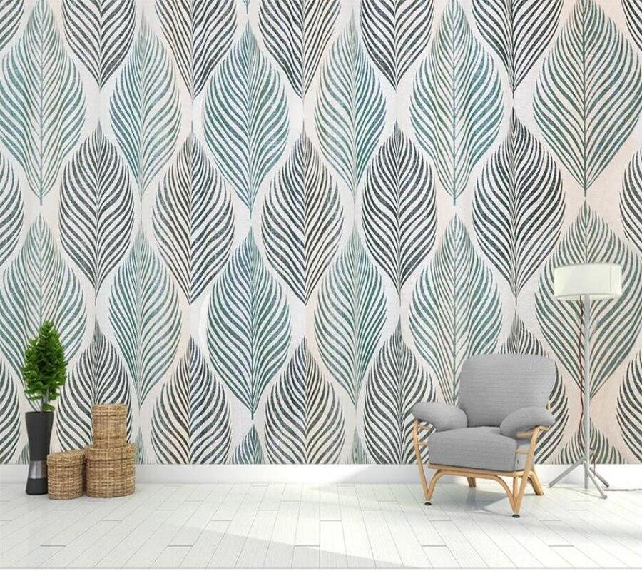Beibehang Custom Wallpaper 3d Mural Nordic Hand Drawn Leaves Papier Peint Background Wall Small Fresh Elephant Giraffe Wallpaper