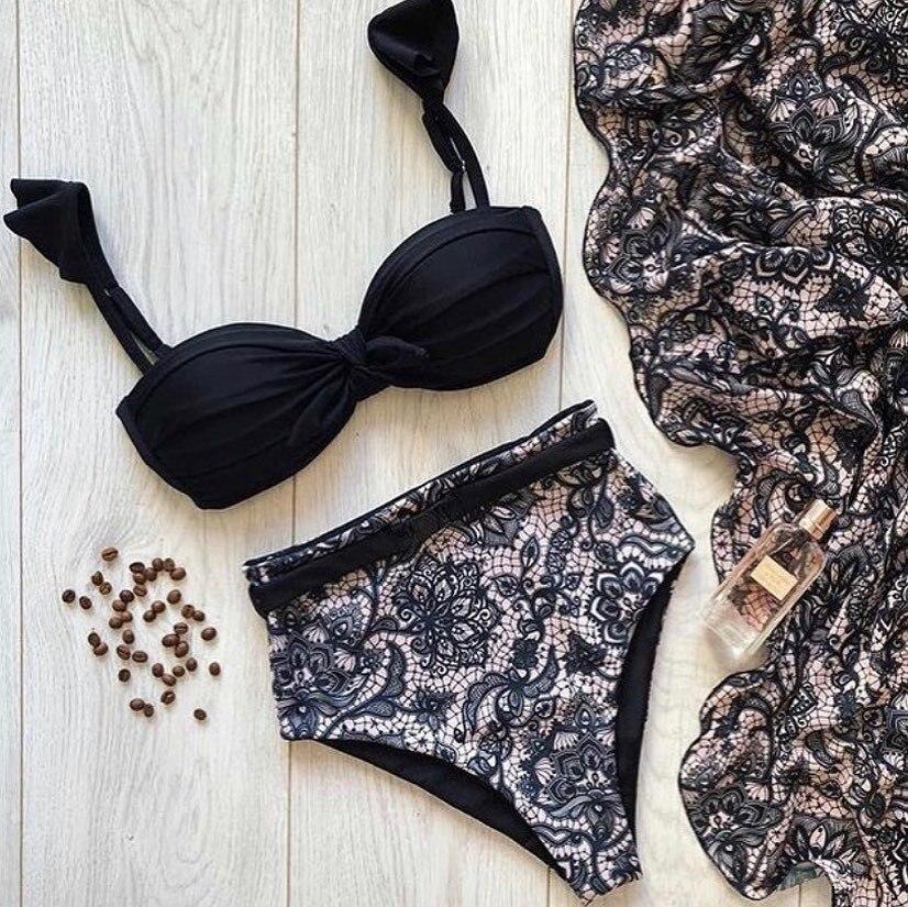 Sexy Ruffle Bikinis 2020 Brazilian Bikini Set Tie A Knot Push Up Swimwear Women Swimsuit Bathing Suit Summer Mujer Biquini