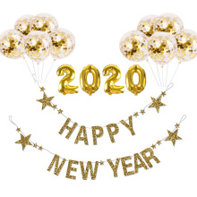 Gold HAPPY NEW YEAR Garland Balloons 2020 Glittering Happy New Year Banner Supplies Christmas Decorations For Home Noel Decor