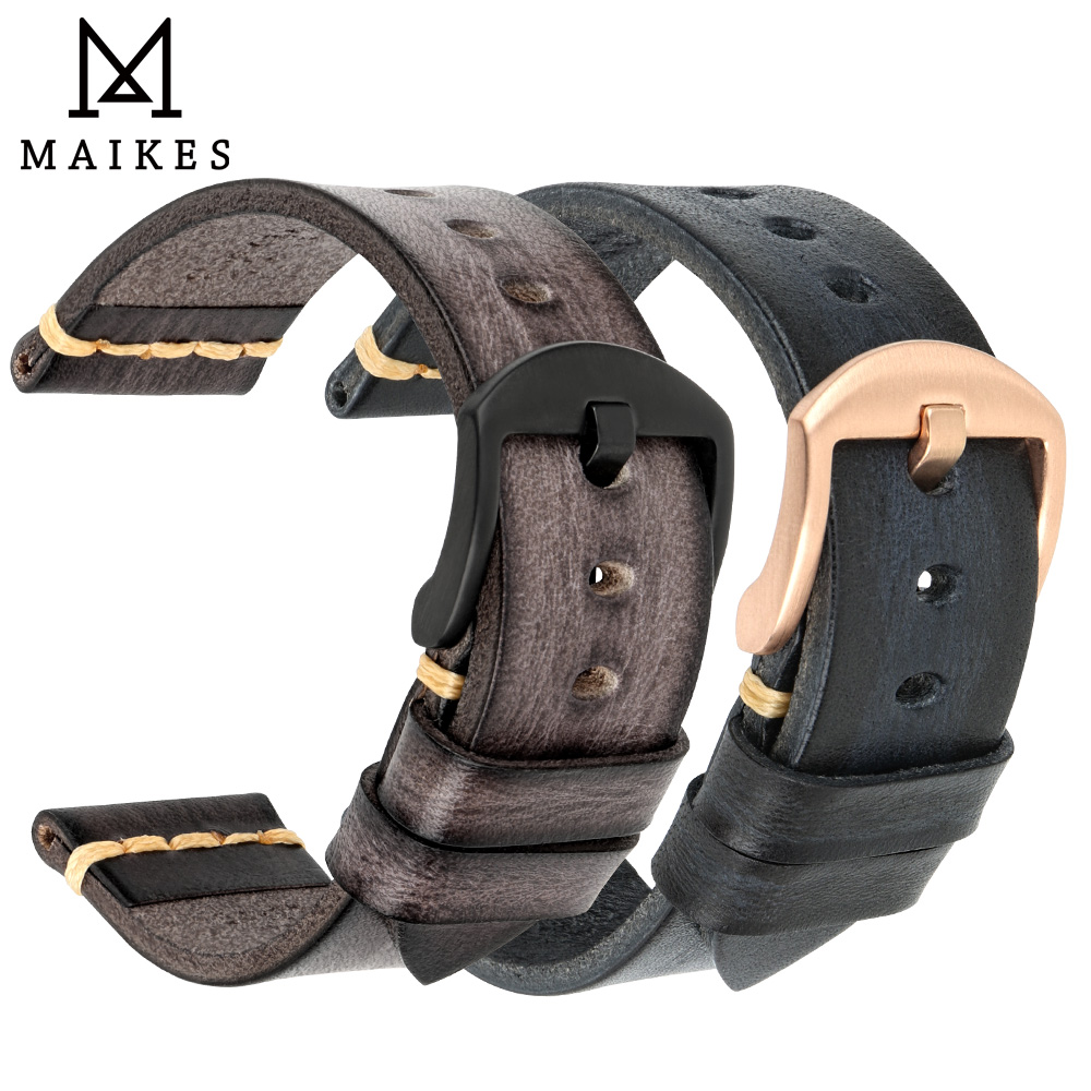 MAIKES Handmade Watchband calfskin strap mens Vintage Genuine leather watch band 20mm 22mm 24mm For Panerai MIDO LonginesWatchbands   -
