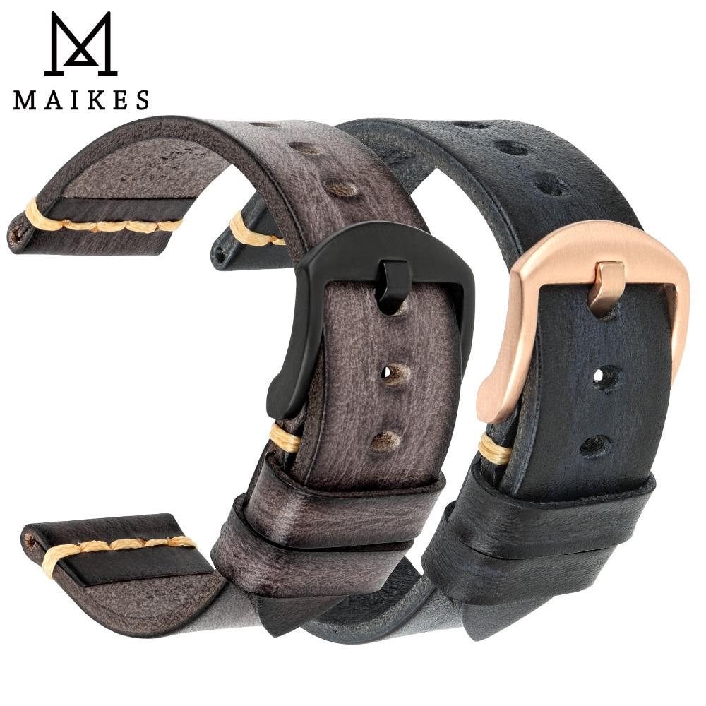 MAIKES Handmade Watchband Calfskin Strap Men's Vintage Genuine Leather Watch Band 20mm 22mm 24mm For Panerai MIDO Longines