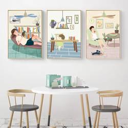 Картина: скандинавский минималистический декоративный Рисунок с изображением героев мультфильмов, летний отдых, летний день, ресторан