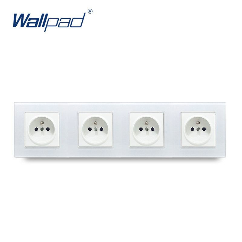 Quadruple French Socket Wallpad Tempered White Glass Panel 16A  French 110V-240V 4 Frame EU Wall Socket 344*86MM Size