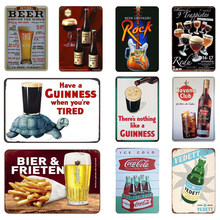 Beer Retro Metal Tin Sign Plates Guinness Cola Bar Pub Casino Decorative Plaque Wine Wall Stickers Drink Club Metal Poster(China)
