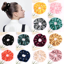 10pcs candy elastic pearl ponytail holder hair ties for girls tight elastic rubber rope bands for thick adult hair accessories 1PC  Velvet Scrunchie Women Elastic Hair Bands With Pearl Stretchy Hair Ties Gum For Girls Hair rope Accessories Ponytail Holder