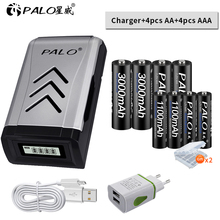 PALO 4PCS 1.2V NI-MH aa AA rechargeable batteries + aaa AAA battery+smart intelligent USB Battery Charger