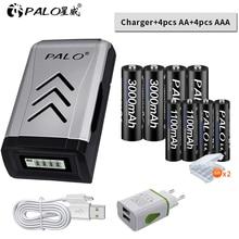 цена на PALO 4PCS 1.2V NI-MH aa AA rechargeable batteries + 4PCS 1.2V aaa AAA rechargeable battery+smart intelligent USB Battery Charger