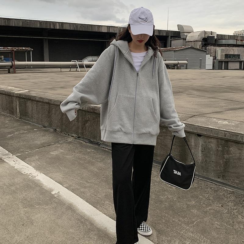 Женские толстовки на молнии в Корейском стиле, винтажный однотонный свитшот большого размера с длинным рукавом и капюшоном, женские повсед...