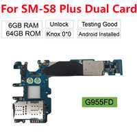BINYEAE Replacement For Samsung Galaxy S8 Plus G955FD (Dual Duos Card) Unlocked 100% Working Main Motherboard 64GB Knox 0