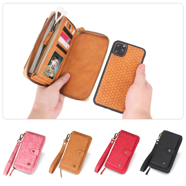 Multifunctional fashion woven pattern zipper FHX SB mobile wallet for iPhone 6S 7 8 Plus X XR XS MAX 11 11Pro MAX mobile wallet