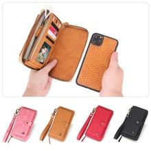 多機能ファッション織パターンジッパー携帯財布 iphone 6 6S 7 8 プラス X XR XS 最大 11 11Pro 最大携帯財布