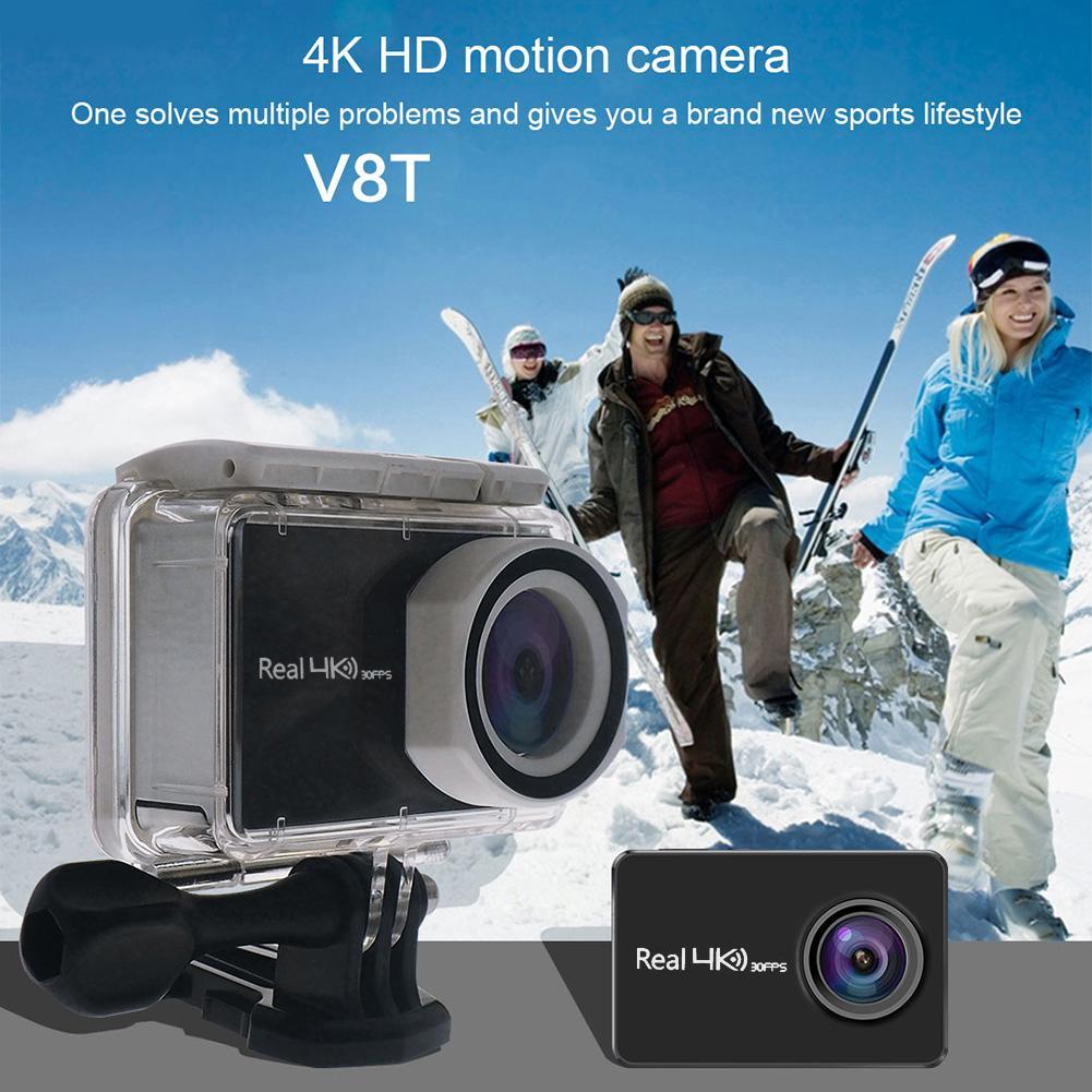 V8T Waterproof Action Camera Remote Ultra HD 4K WiFi 1080P Allwinner V5 LCD DV Sport Camera for Surfing Hiking 65.7*42*22mm