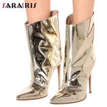 SARAIRIS New Plus Size 35-48 Brand Designer Booties Ladies Party Evening Boots Women 2019 Fashion High Heels Shoes Woman