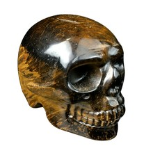 2 Inch Natural Tiger Eye Jasper Quartz Crystal Skull Carved Skull Reiki Healing(China)