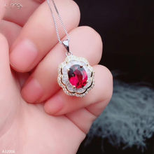 Jewelry 925 sterling silver natural magnesium aluminum garnet net body female pendant necklace charming big gem beautiful suppor