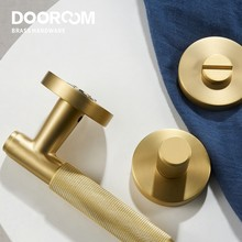 Dooroom Brass Door knurled handle Set Modern Interiror Bedroom Bathroom Door Lever Set Dummy Privacy Passage lock
