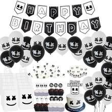 Dj marshmello tema música festival branco preto feliz aniversário festa decoração bandeira bolo toppers látex balões