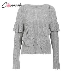 Image 4 - Conmoto Women Autumn Winter Knitted Sweaters Fashion Hollow Out Crochet Pullovers 2019 Female Ruffle Long Sleeve Jumpers Tops