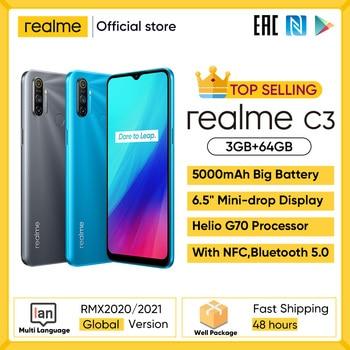 realme C3 Unlockphone 3GB RAM 64GB ROM Mobile Phone Helio G70 12MP Camera 6.5'' Mini-drop Fullscreen 5000mAh NFC Smartphones