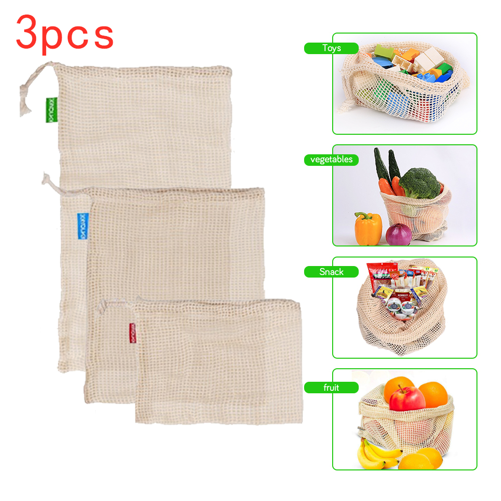 Reusable Cotton Mesh Produce Bag For Vegetable Fruit Kitchen Washable Storage Bag Eco Friendly Fruit Bags Mesh Bag