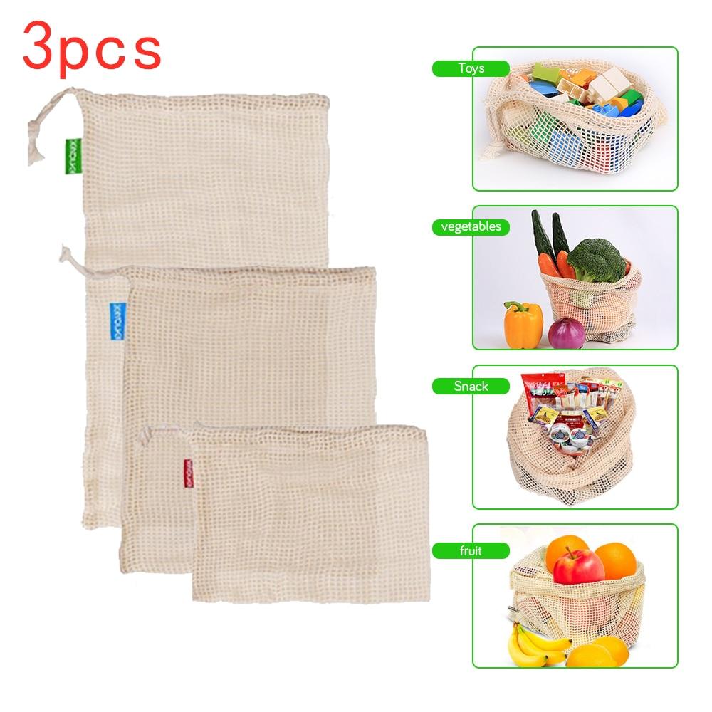 Reusable Cotton Mesh Produce Bag for Vegetable Fruit kitchen Washable Storage Bag Eco Friendly Fruit Bags Mesh bag
