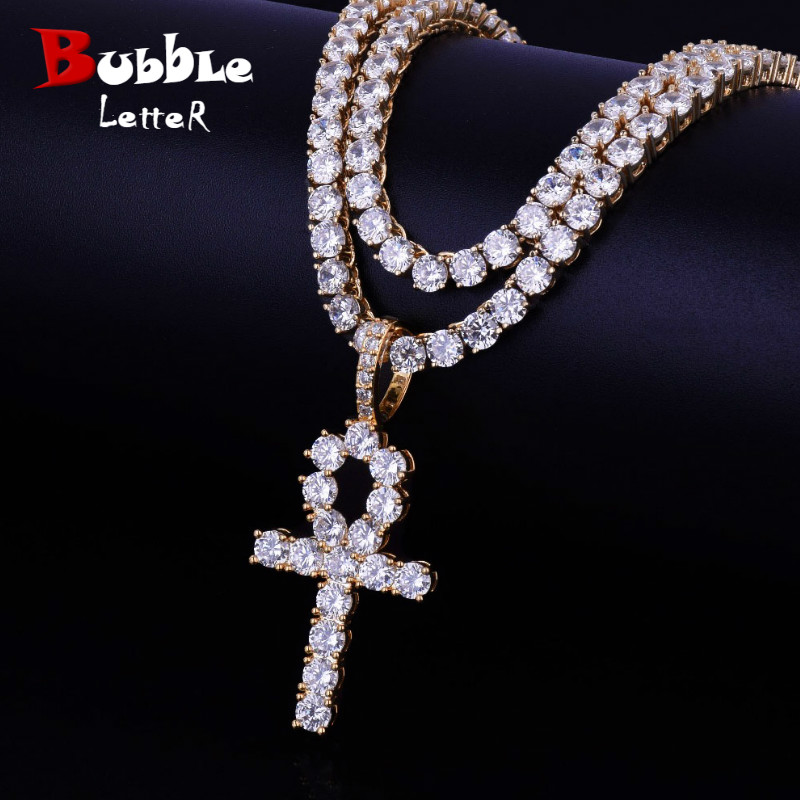 Ankh Cross With 4mm Tennis Chain Necklace Set Men's Hip hop Jewelry Key of Life Egypt Pendant